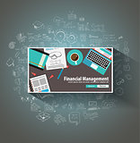 Financial Management concept with Doodle design style