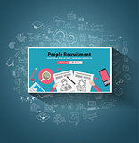 People Recruitment concept  with Doodle design style