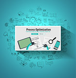 Process Optimization and Production Check Up concept with Doodle design