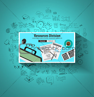 Business Resources Division concept  with Doodle design styl