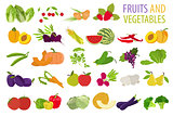 Fruits and vegetables. Nutrition. Icon set