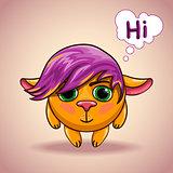 Emo cartoon alien animal character.