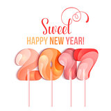 New Year 2017 in shape of candy stick isolated on white