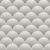 Vector Seamless Black and White Arc Shapes Stippling Pattern