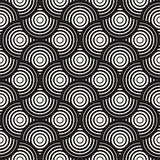 Vector Seamless Black and White Circle Lines Grid Pattern
