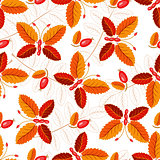 Seamless autumnal pattern with butterflies