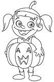 Outlined pumpkin kid