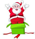 Santa jumps from gift box