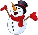 Snowman raising arms