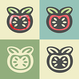 Vector outline tomato icon with watercolor fill.