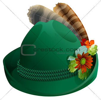 Green hat with feathers for Oktoberfest
