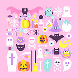 Cute Halloween Objects in Trendy Colors