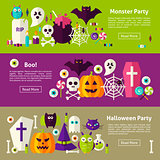 Halloween Party Web Horizontal Banners