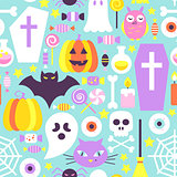 Trendy Colors Halloween Seamless Pattern