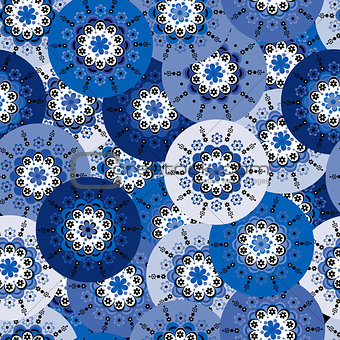Blue background with round motifs