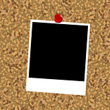 Cork board with instant photo frame and push pin