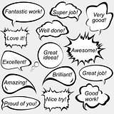 Speech bubbles with positive feedback messages