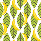 Banana fruit with leaves seamless pattern.