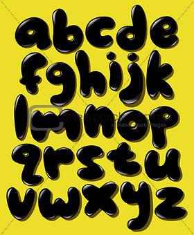 Black lower case bubble alphabet