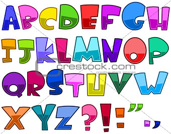 Bright cartoon alphabet