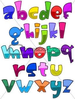 Bright cartoon lower case alphabet