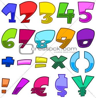 Bright cartoon numbers