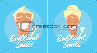 Poster with man and woman smiling. White healthy teeth, toothbrush or toothpaste advertisement. Retro style. Denist service, stomatology