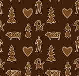 Seamless pattern gingerbread Christmas