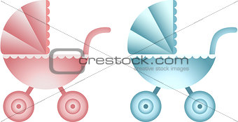 Baby carriage pink and blue