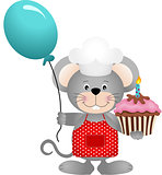 Cook mouse with balloon and birthday cake