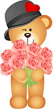 Teddy bear offering bouquet of roses