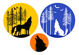 Howling wolf with moon, vector set