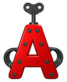 uppercase letter a with decorative pieces - 3d rendering