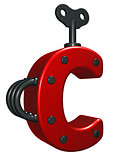 letter c with decorative pieces - 3d rendering