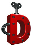 letter d with decorative pieces - 3d rendering
