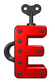letter e with decorative pieces - 3d rendering