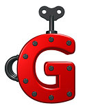 letter g with decorative pieces - 3d rendering