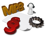 mp3 tag, paragraph symbol and pawn with headphones - 3d rendering
