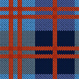 Knitting seamless pattern in blue and red hues