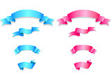 Set of pink and blue ribbons