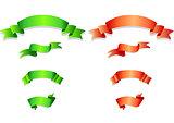 Set of green and orange ribbons.