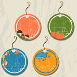 Set of 4 retro autumn tags.