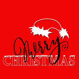 White and black hand drawn grunge lettering and christmas style font on red background. Silhouette of Santa Claus hat