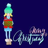 Girl holding a gift box with handwritten inspiration. Wish you a merry Christmas lettering