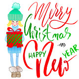 Girl holding a gift box with handwritten inspiration. Wish you a merry Christmas and happy new year lettering