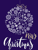 Christmas snowflakes ball. Card with christmas gold and white lettering. EPS10.