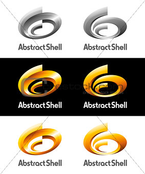 Abstract Spriral Shell Vector Logos and Icons