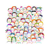 People crowd international, sketch for your design