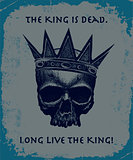 Hand drawn king skull wearing crown.