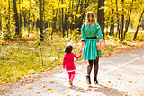 Mother and daughter walking in autumn park, back view